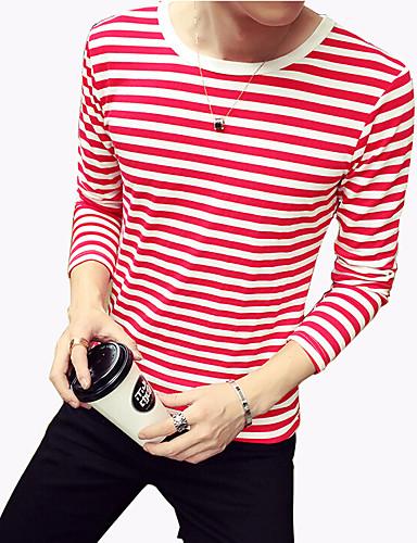 Menn Fritid / Plusstørrelse Stripet T-skjorte,Polyester / Spandex Langermet-Svart / Blå / Rød