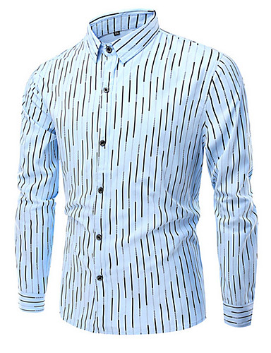 Hombre Simple Algodón Camisa A Rayas / Estampado / Manga Larga