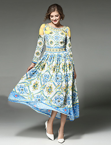 Women's Holiday / Going out Vintage / Street chic / Sophisticated Cotton Swing Dress - Patchwork