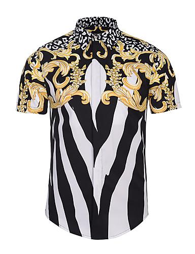 Hombre Estampado Camisa, Cuello Italiano Delgado Geométrico / Manga Corta