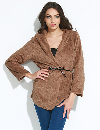 Women's Going out Street chic Dress,Solid Shawl Lapel Winter Medium