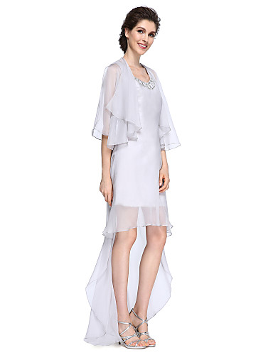 Sheath / Column Scoop Neck Asymmetrical Chiffon Mother of the Bride Dress with Sequin by LAN TING BRIDE®