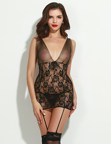 Damen Dessous Besonders sexy Anzüge Nachtwäsche Polyester Spitze Dünn Schwarz