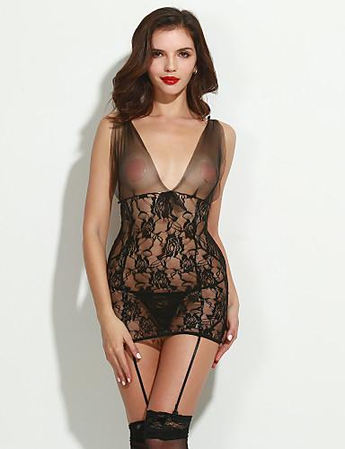 Feminino Super Sensual / Conjunto / Lingerie com Renda Roupa de Noite,Sexy / RendasFino Renda / Poliéster Preto Mulheres