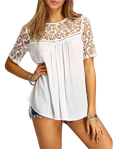 Mulheres Camisa Social - Para Noite Moda de Rua Sólido / Verão / Rendas