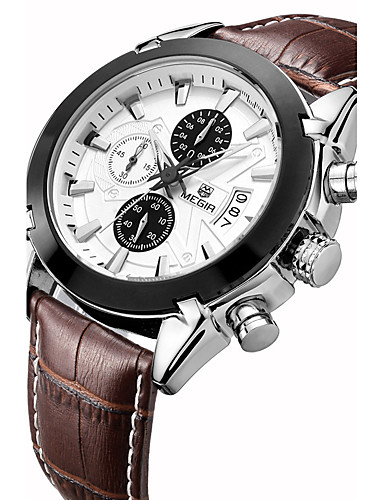 MEGIR رجالي ساعة رياضية ساعة المعصم كوارتز 30 m ساعة كاجوال جلد طبيعي فرقة مماثل ترف عتيق كاجوال متعدد الألوان - أسود بني سنتان عمر البطارية