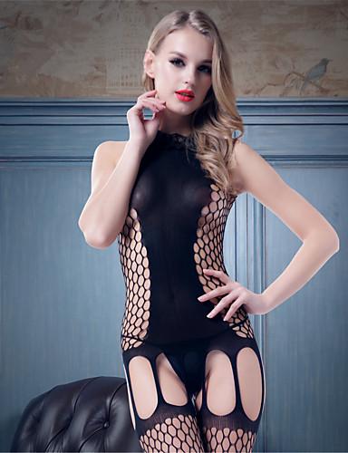Mini ve Abiye Jartiyerler ve Askıları Dantelli İç Giyim Ultra Seksi Yatak kıyafeti Solid Naylon Splandeks Kadın's Siyah
