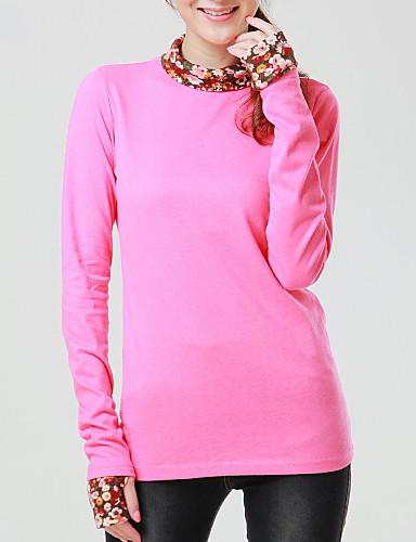 Tee-shirt Aux femmes,Couleur Pleine Décontracté / Quotidien simple Printemps Manches Longues Bleu / Rose Coton / Polyester Opaque