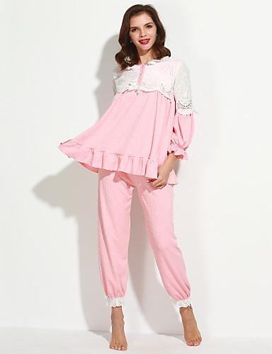 Dames Pyjama -Patchwork Dun Katoen Donker roze Licht Groen
