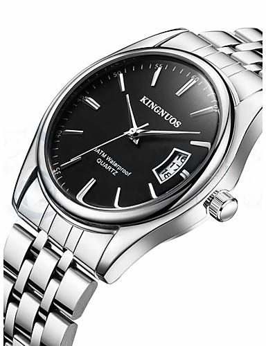 Homens Relógio de Pulso Calendário / Legal Aço Inoxidável Banda Casual / Fashion Prata