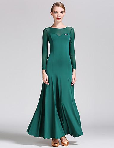 cheap Ballroom Dancewear-Ballroom Dance Dresses Women's Performance Tulle / Milk Fiber Draping Long Sleeve Natural Dress