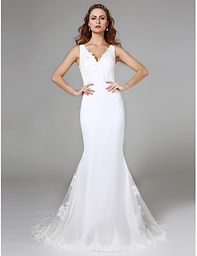 baratos Vestidos com Lindos Detalhes nas Costas-Sereia Decote V Cauda Escova Renda Vestidos de casamento feitos à medida com Renda de LAN TING BRIDE®