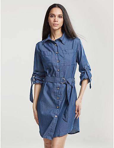 Žene Veći konfekcijski brojevi Ulični šik Pamuk Širok kroj Haljina Jednobojni Kragna košulje Do koljena