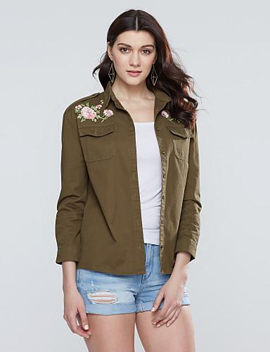 billige Dametopper-Bomull Skjortekrage Skjorte Dame - Broderi Militærgrønn / Vår