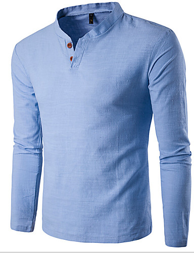 abordables Camisetas y Tops de Hombre-Hombre Básico Deportes Algodón Camiseta, Escote Chino Delgado Un Color Blanco XXXL / Manga Larga