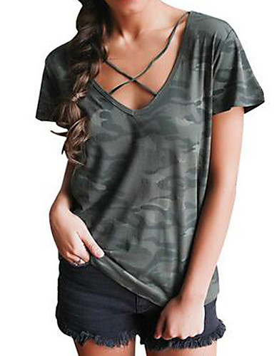 Bomull Løstsittende V-hals T-skjorte Kamuflasje