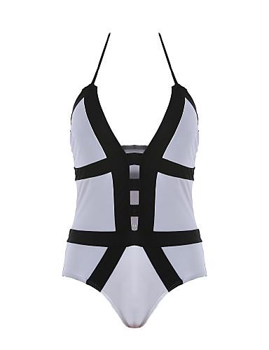 Dame Farveblok Grime Hvid Bikini Badetøj - Ensfarvet S M L