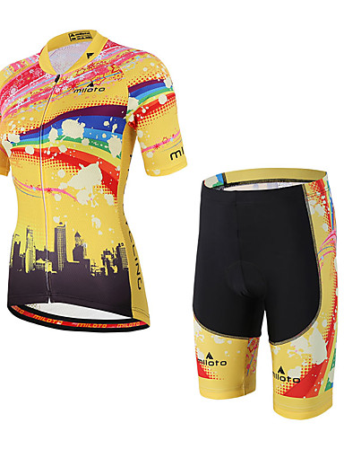 cheap Cycling Clothing-Miloto Men's Women's Short Sleeve Cycling Jersey with Shorts - Yellow / Black Rainbow Bike Clothing Suit Breathable 3D Pad Sweat-wicking Sports Spandex Coolmax® Rainbow Mountain Bike MTB Road Bike