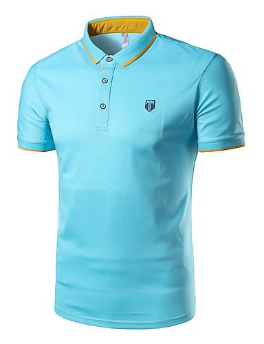 אחיד צווארון חולצה סגנון רחוב ספורט כותנה, Polo - בגדי ריקוד גברים / שרוולים קצרים