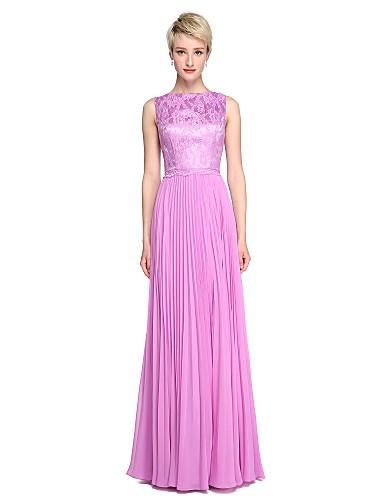 A-Linie / Prinzessin Bateau Hals Boden-Länge Chiffon / Spitze Brautjungfernkleid mit Plissee durch LAN TING BRIDE®
