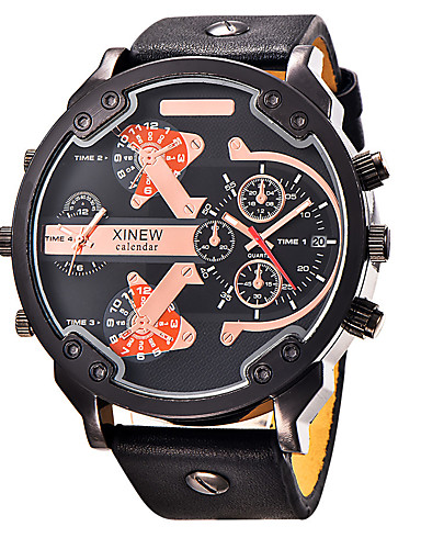 Men's Sport Watch Military Watch Wrist Watch Quartz Water Resistant / Water Proof Calendar / date / day Creative Fabric Genuine Leather Band Analog Charm Luxury Vintage Black / Blue / Brown - Black