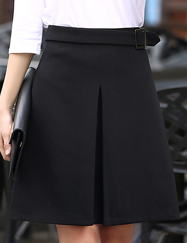60% clearance utterly stylish official Daily / Going out / Work Plus Size A Line Skirts - Solid Colored Layered  Black XXL XXXL XXXXL