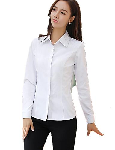 Bomull Skjortekrage Store størrelser Skjorte Dame - Ensfarget Arbeid