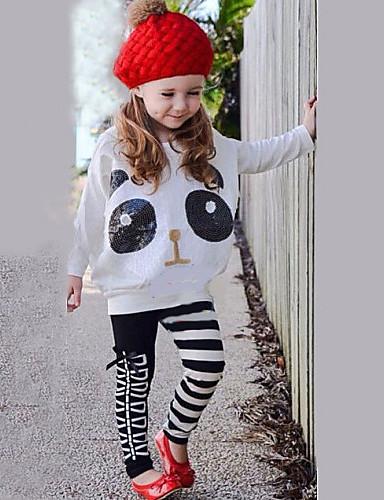 Kız Çizgili Pamuk Karışımı Tüm Mevsimler Kıyafet Seti
