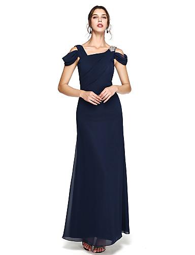 Tube / kolonne stropper Gulvlang Chiffon Skoleball / Formell kveld Kjole med Perlearbeid / Sidedrapering / Plissert av TS Couture®