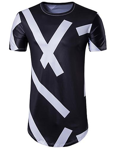 Homens Camiseta - Esportes Moda de Rua Geométrica Decote Redondo Preto & Branco