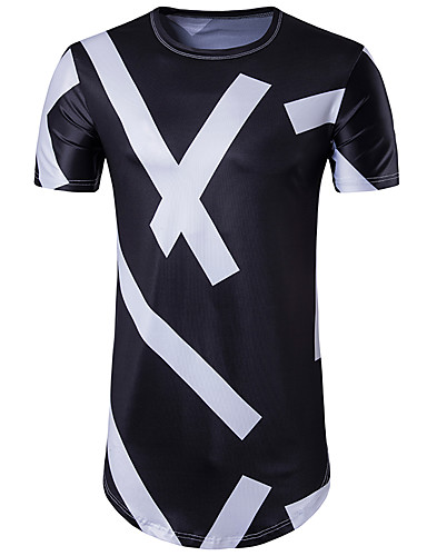 Homens Camiseta - Esportes Básico Estampado, Geométrica Decote Redondo Delgado Preto & Branco / Manga Curta / Longo