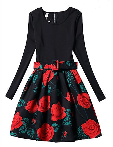 Menina de Vestido Primavera Outono Poliéster Manga Longa Floral Preto