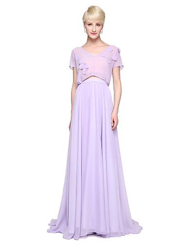 Sheath / Column V Neck Floor Length Chiffon Bridesmaid Dress with Pleats by LAN TING BRIDE®