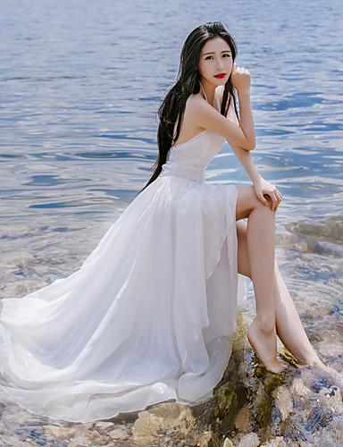 Mulheres Feriado Chique & Moderno balanço Vestido Côr Sólida Com Alças Longo
