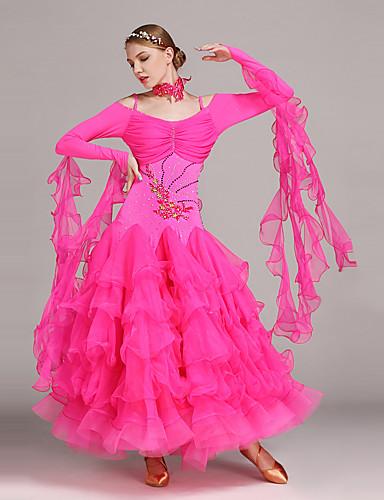 preiswerte Tanzkleidung für Balltänze-Für den Ballsaal Kleider Damen Leistung Tüll / Lycra Applikationen / Rüschen / Kristalle / Strass Langarm Normal Kleid / Neckwear