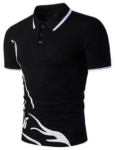 Homens Polo - Esportes Activo Côr Pura, Estampa Colorida Algodão Colarinho de Camisa Delgado