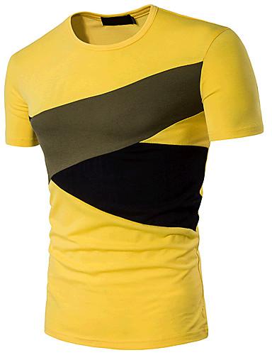 billige T-shirts og undertrøjer til herrer-Rund hals Herre - Farveblok Bomuld Aktiv Sport T-shirt Sort L / Kortærmet / Sommer