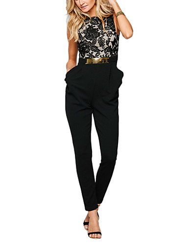 c7b2798cd627 Women s Ruffle Lace Backless Daily   Work Black Slim Jumpsuit