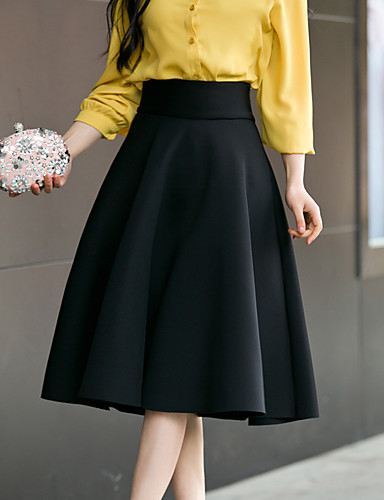 cheap Women's Skirts-Women's Daily / Going out Street chic Plus Size Cotton A Line Skirts - Solid Colored Pure Color High Waist Black Wine White S M L