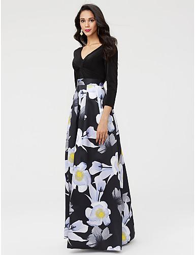 Corte en A Escote en Pico Hasta el Suelo Satén / Jersey Vestido de Madrina con Cinta / Lazo / Plisado por LAN TING BRIDE®