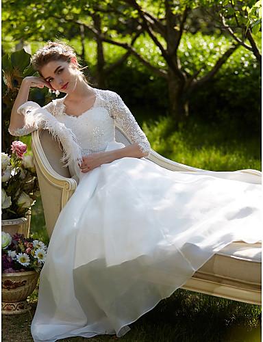 A-linje Dronning Anne Hoffslep Blonder / Organza Made-To-Measure Brudekjoler med Perlearbeid / Appliqué / Belte / bånd av LAN TING BRIDE®