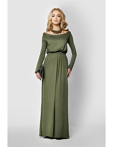 93559dfc80f7 Women's Holiday Going out Maxi Sheath Dress - Solid Colored Boat Neck  Summer Black Camel Army Green XL XXL XXXL