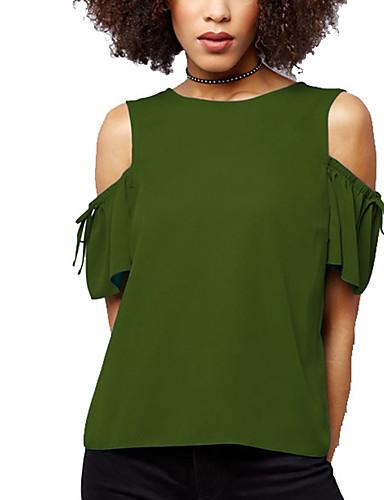 abordables Hauts pour Femme-Tee-shirt Grandes Tailles Femme, Couleur Pleine Sortie Chic de Rue Bleu / Eté / Automne / Découpé
