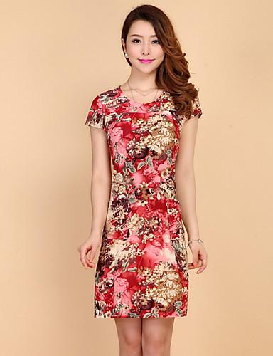 19c38d6ed Feminino Evasê Vestido,Casual Simples Floral Decote Redondo Acima do Joelho Manga  Curta Raiom Verão