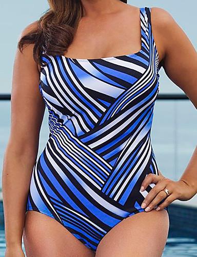 Mulheres Com Laço / Boho Nadador Azul Real Maiô Roupa de Banho - Listrado XL XXL XXXL