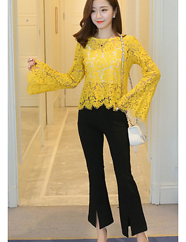 55f002a59297 Γυναικεία Μπλούζα Σύγχρονο - Δαντέλα Συμπαγές Χρώμα   flare μανίκι   Sexy
