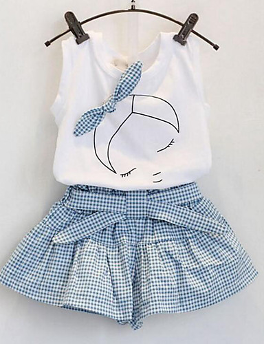 2f4dcd55c73b Toddler Girls' Sweet Cute Daily Plaid Portrait Bow Sleeveless Regular Rayon Clothing  Set White
