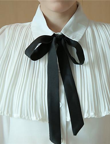 billige Topper til damer-Skjortekrage Skjorte Dame - Helfarge, Moderne Stil Klassisk & Tidløs Grønn / Vår / Høst / Snøring
