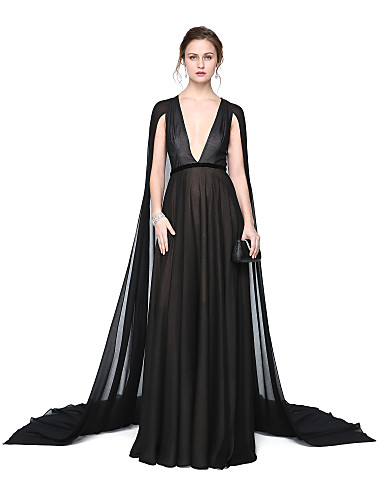 a3e9ff255d3c A-Line Plunging Neck Floor Length Chiffon Celebrity Style Formal Evening  Dress with Sash / Ribbon / Pleats by TS Couture®