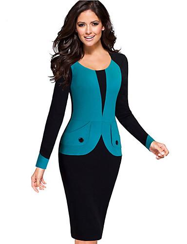 Mulheres Algodão Delgado Calças - Estampa Colorida / Retalhos Azul / Trabalho